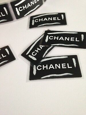 5 x genuine chanel stickers matt black with white logos brand new authentic
