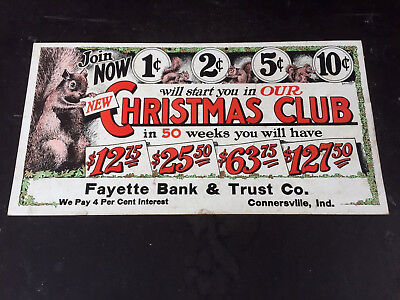 Super Colorful 1920's Christmas Club Bank Advertising Sign