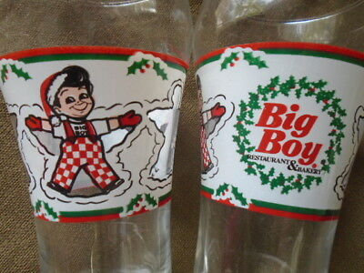 2 Vintage Big Boy Restaurant Holiday Glasses, Making Snow Angels~Advertising