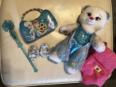 Build a Bear Disney Frozen Elsa Plush White Bear, Sings Let It Go Plus Extras