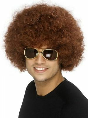 Unisex Mens Quality Fancy Dress 70s 80s Disco Afro Funky Curly Clown Wig Brown