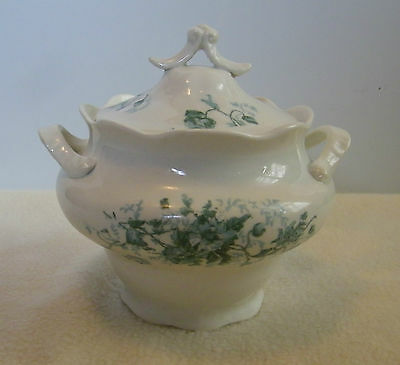 Vintage Edwin W Knowles China Co Semi Vitreous sugar bowl with lid transferware?