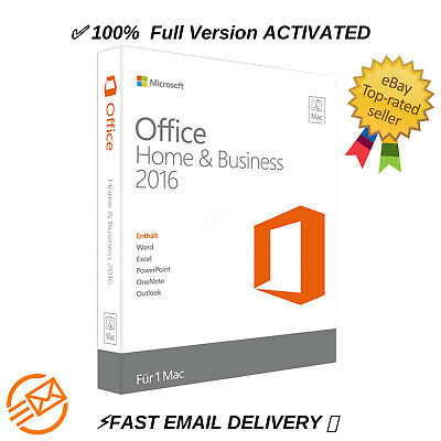 Microsoft Office 2016 Home and Business MAC ✅INSTANT EMAIL DELIVERY 📩Download