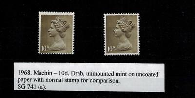ERROR MISTAKE 1968 10d DRAB  MACHIN  UNCOATED PAPER SG741a CAT£85.00