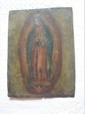 Original Antique Retablo On Copper Of Our Lady Of Guadalupe In Great Condition