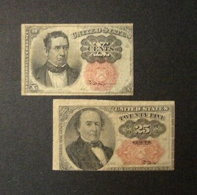 (2) 1874 US Fractional Currency 10 Cents & 25 Cents