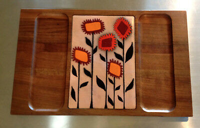 Vintage Mid Century Wood & Copper Enamel Serving / Hors d'oeuvres Tray