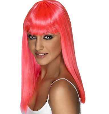 Womens Girls Neon Pink Glamourama Wig Long Straight Fringe Katy Perry Colour