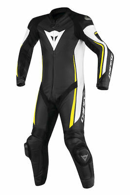 Dainese Assen Black White Yellow Leather 1 Piece Motorcycle Suit NEW