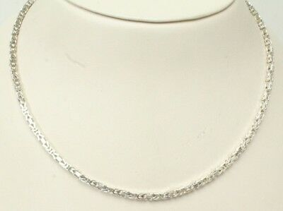 "Italy 925 STER 24"" Squared Byzantine Chain Necklace Appx 2.5mm Thick/23.3grams"