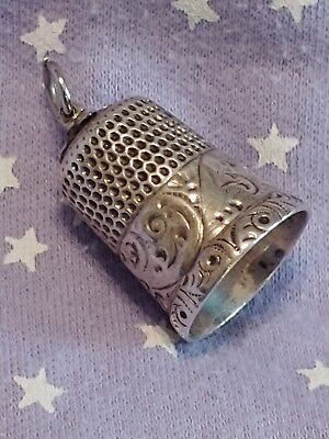 Antique Simons Bros. & Co. Sterling Silver Thimble Scrolls Size 9 Pendant Charm