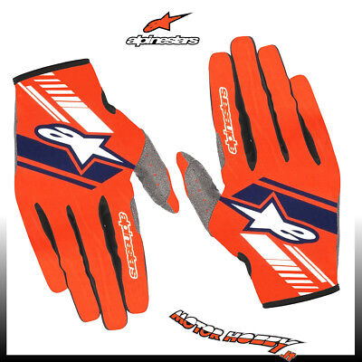 Guanto Cross Enduro Alpinestars Neo Gloves Orange Fluo Dark Blue Taglia Xxl