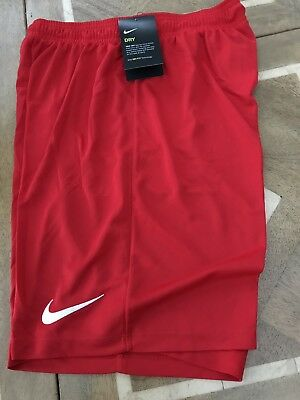 New - Nike Park Ii Men's Dry Fit Sport Gym Football Shorts Red Small 725887-657