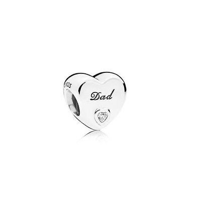 S925 Silver EURO Heart DAD Father Charm CZ Heart by Pandora's Angels