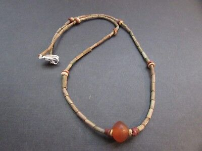 NILE  Ancient Egyptian Carnelian Amulet Mummy Bead Necklace ca 600 BC