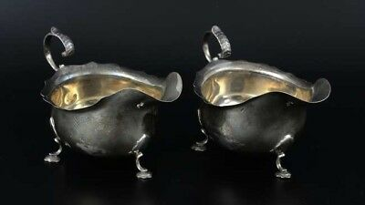Pair of Solid Nice Gauge Silver Sauce Boats, Sheffield 1918, James Deakin & Sons