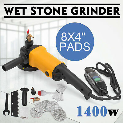 "4 Inch Wet Variable Speed Polisher 4"" Diamond Polishing +8 Pad Granite Concrete"