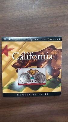 Collectible 2005 U.S. Mint California State 2 Quarter Set #31 of 50 Free Ship