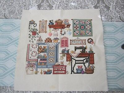 """Singer Sewing Machine"" Counted cross stitch - Finished Product unframed"