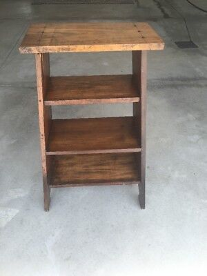 Antique Solid Wood Night Stand Book Shelf Table Furniture Farmhouse