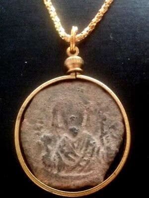 JESUS CHRIST Large 30mm Genuine Ancient Roman Byzantine Coin Pendant Necklace