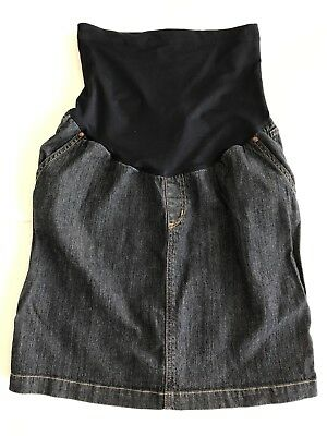 Liz Lange Maternity A-Line Denim Jean Skirt with Belly Band Size Small
