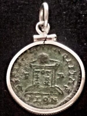 Constantine Great Altar Authentic Ancient Roman Coin Sterling Silver Pendant