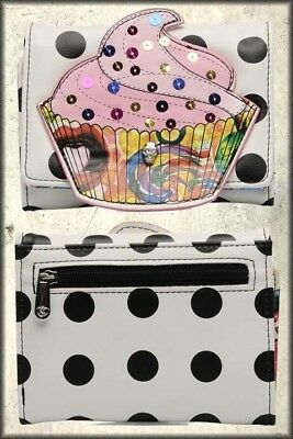 Iron Fist Sweets My sweets Cupcake Polka Dots Candy Emo TriFold Wallet White NEW