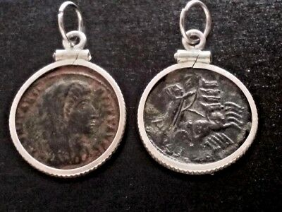(Lot of 2) Constantine Great Ancient Roman Coin Sterling Silver Pendant Earrings