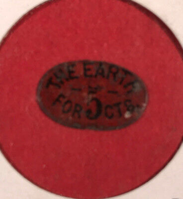 "Vintage ""The Earth for 5 Cts"" Oval Tobacco Tag"