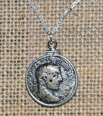 Authentic Ancient Roman Empire Coin of Philip The Arab 925 Solid Silver Necklace