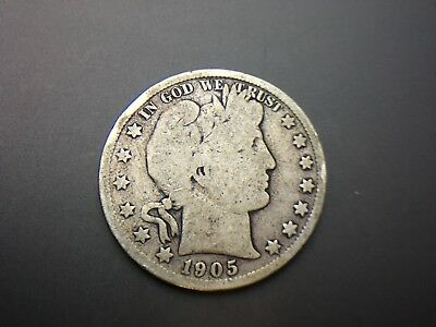 1905-S   Barber Half Dollar   VG F 3 OR MORE FREE SHIPPING 90% SILVER Lot # 630