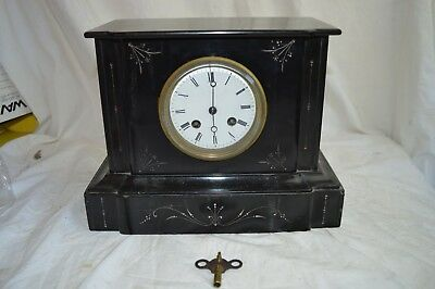 Antique Japy Freres French Black Marble Slate Mantle Clock Porcelain Dial Bell