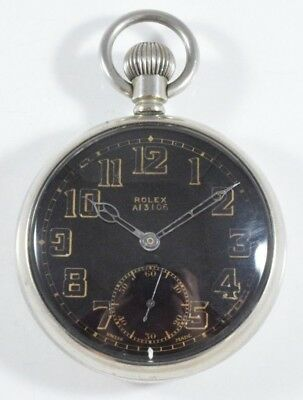 ROLEX Black & Gold Dial WWII MK.II Military Issue Pocket Watch cal.756 c.1940