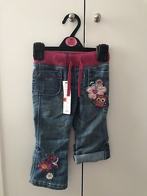 M&S pink floral embroidered jeans baby girl 18-24 months BNWT