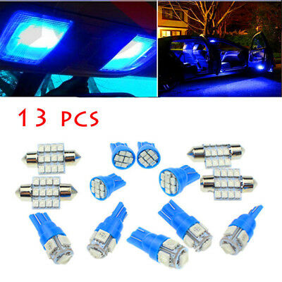 13Pcs Car Blue LED Lights Kit for Stock Interior & Dome & License Plate Lamps