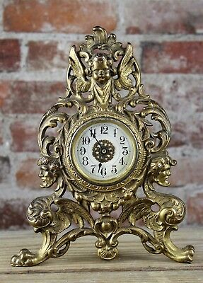 Antique Victorian Renaissance Gilt Cast Iron  Clock With Cherub & Griffins Nr
