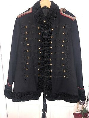 Stunning Vintage Black Wool Military Coat Used As Prop For Famous Artist Troiai