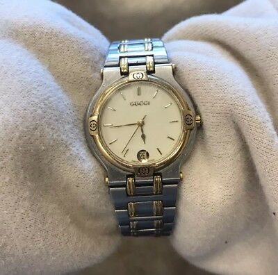 65464a4b0c8 GUCCI 9000L Stainless Steel Gold Plated Date Swiss Made 25mm Wrist Watch