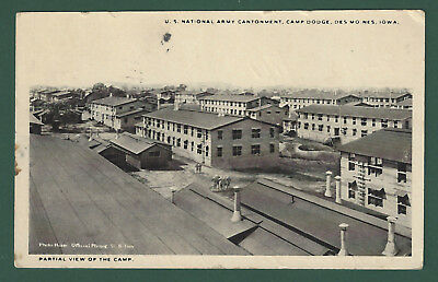 Army Cantonment Camp Dodge Des Moines Iowa Vintage Used Postcard 1917 Postmark
