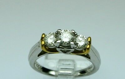 1 ct tw Diamond 3 stone ring 14k / 24k gold size 7.25 No Reserve ! OUTSTANDING !
