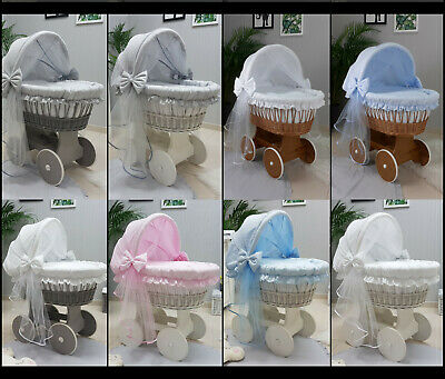 Wicker Moses Basket With Hood Tulle + Stand + Big Wheels & Bedding 6 Colours