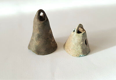 Lot Of 2 Ancient Celtic Bronze Bells - Proto Money 600 - 400 Bc