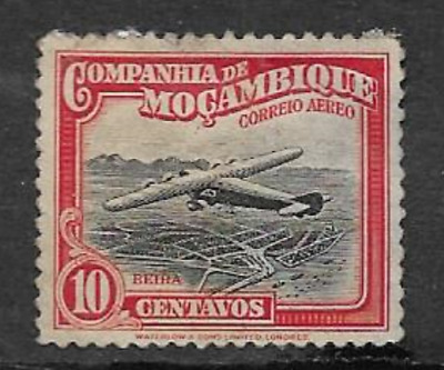 MOZAMBIQUE COMPANY POSTAL ISSUE - 1935 USED AIR MAIL - PLANE OVER BEIRA - 10 Mc