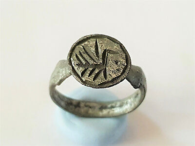 Ancient Viking Bronze Silver Plate Seal Ring With Dragon 8-10 Ad