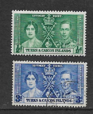 Turks & Caicos Islands Postal Issue Commemorative Stamps 1937 Kgv1 Coronation