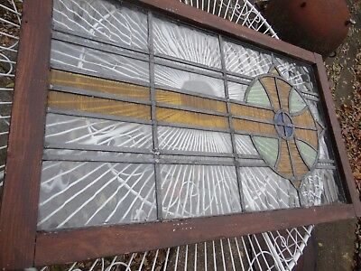 Antique Vintage Arts & Crafts Art Deco Stained Leaded Glass Window-Architecture