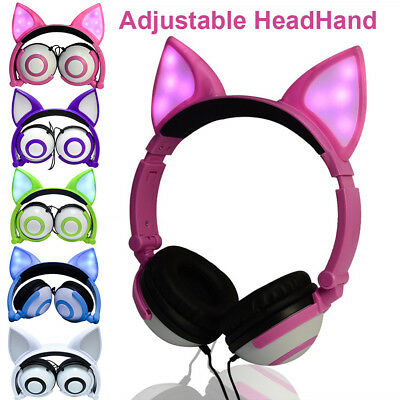 Foldable Flashing Glowing FOX Ear Headphone Gaming Headset Earphone with LED Lig