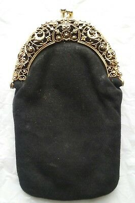 "ANTIQUE VINTAGE LADIES COIN PURSE ~ METAL FILIGREE FRAME ~ BLACK SUEDE ~ 3"" x 6"""