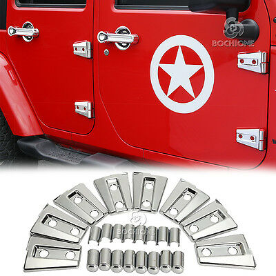 8X Silver Chrome ABS Door Hinge Covers Trim For 2007-2018 Jeep Wrangler JK 4DR